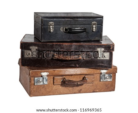 stack of three antique suitcases isolated on white - stock photo