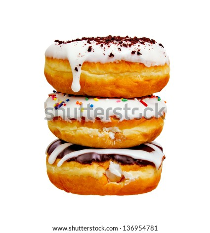 Stack of Three Donuts Isolated on a White Background - stock photo