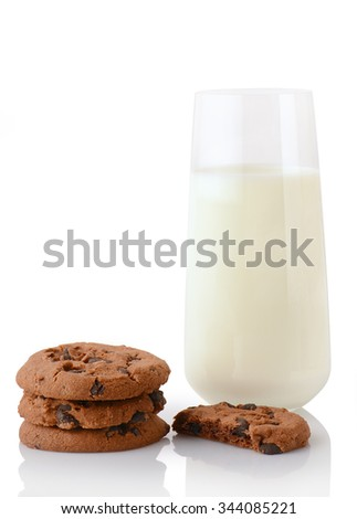 Stack of three homemade chocolate chip cookies, half of cookie and glass of milk, isolated on white background - stock photo