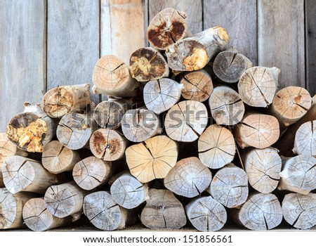 stack of timber wooden background - stock photo