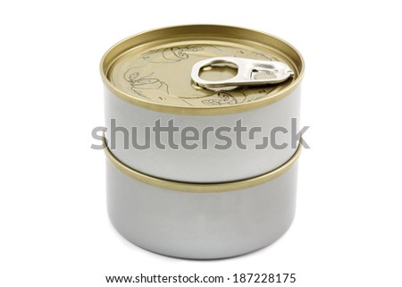 Stack of tin can isolated on white - stock photo