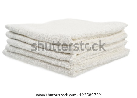 Stack of towels. Isolated on white background - stock photo