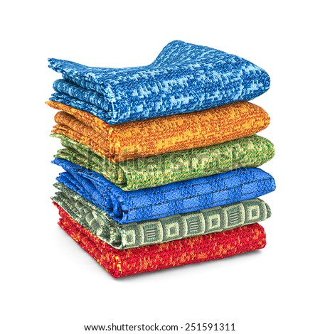 Stack of towels on a white background isolated - stock photo