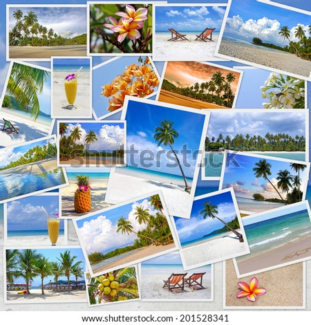 Stack of travel images from Thailand (my photos). Collage of summer tropical beach image. Nature and travel background - stock photo