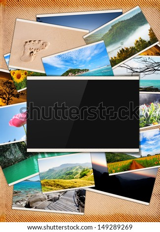 stack of travel images with blank frame in the middle