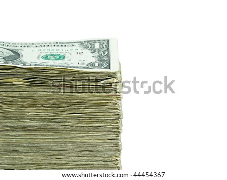 Stack of United States currency background - one dollar bills - stock photo