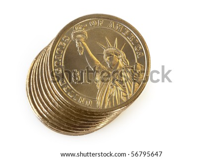 Stack of US $1 coins, isolated on white.  Overhead view. - stock photo