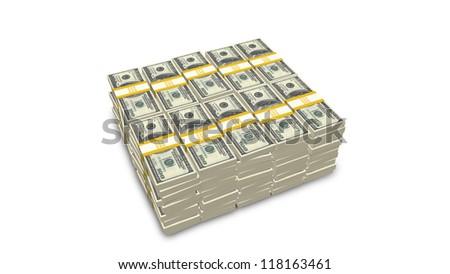 Stack of US 100 dollar bills - stock photo