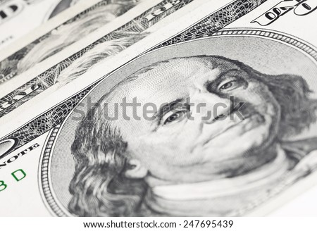 Stack of US Dollars backround. Notes face value of all US dollars - stock photo