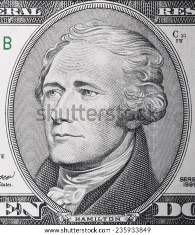 Stack of US Dollars backround. Notes face value of 10 US dollars - stock photo