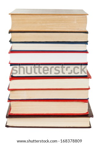 stack of used books isolated on white background