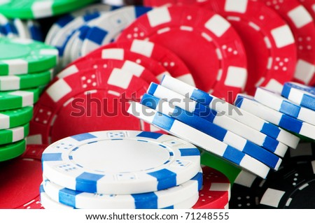 Stack of various casino chips - gambling concept - stock photo
