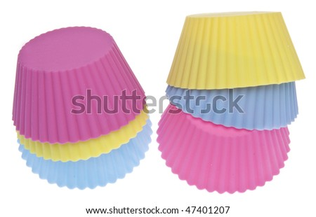 Stack of Vibrant Cupcake Wrappers Isolated on White with a Clipping Path.