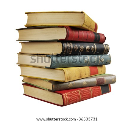 stack of vintage books, isolated on white background - stock photo