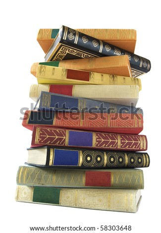 stack of vintage books isolated on white background, blank labels, free copy space
