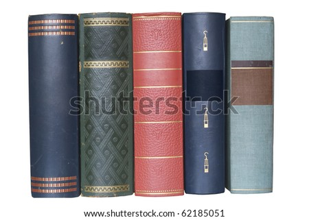 stack of vintage books isolated on white background, blank labels, free copy space - stock photo
