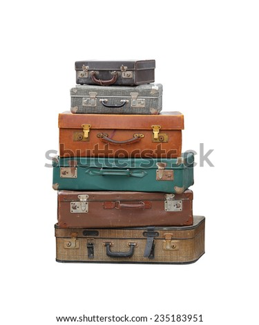 Stack of vintage suitcase luggage isolated included clipping path - stock photo