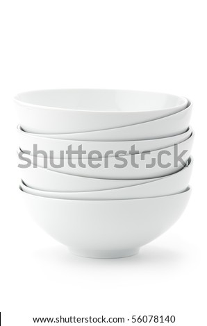 Stack of white bowls - stock photo
