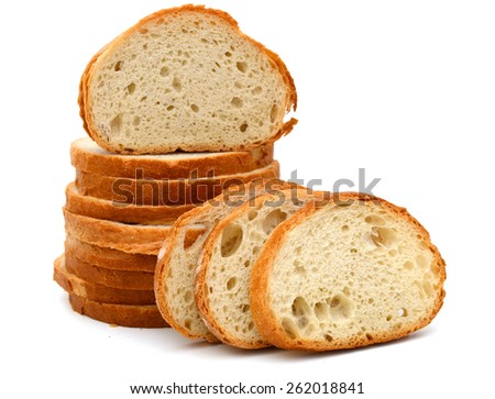 stack of white bread slice isolated on white  - stock photo