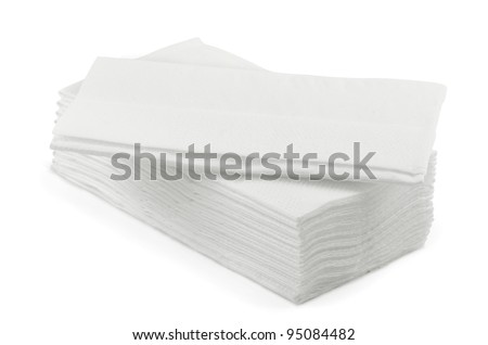 Stack of white l tissue paper  isolated on white