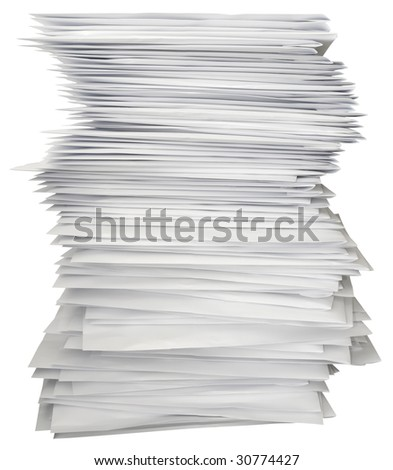 Stack of white letters isolated with clipping path - stock photo