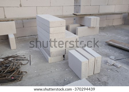 stack of white Lightweight Concrete block, raw material for industrial wall