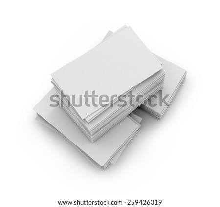 Stack of white paper cards - stock photo