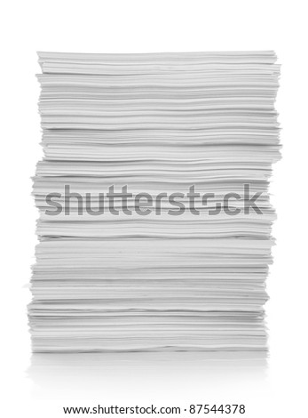 stack of white paper isolated on white background - stock photo