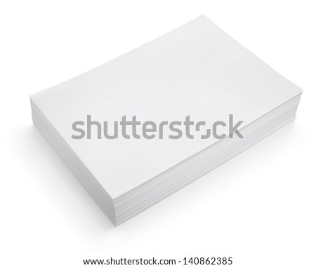 Stack of white paper isolated on white with clipping path