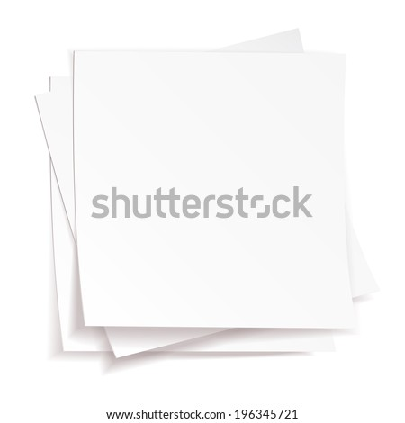 Stack of white papers on white background - stock photo