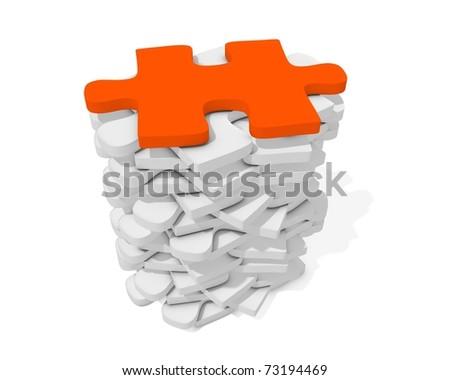 Stack of white puzzle and orange isolated - stock photo