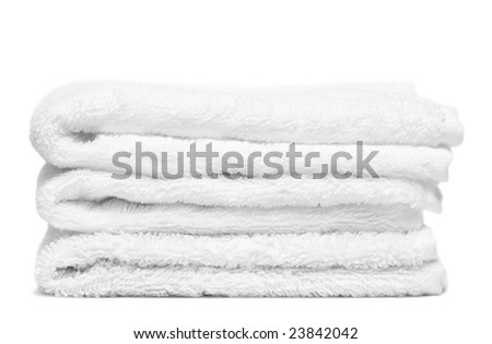 Stack of white towels close-up - stock photo