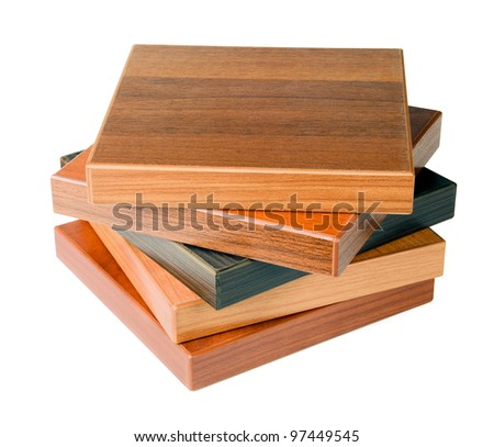 Stack of wood floor samples isolated on white - stock photo