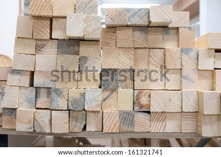 stack of wood harvesting in the production of - stock photo