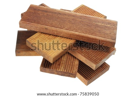 Stack of Wood on White Background