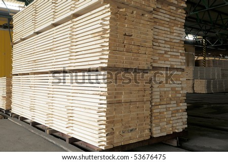 Stack of wood planks. - stock photo