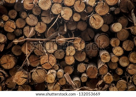 Stack of wood - wooden abstract background.