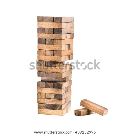 Stack of wooden block on white isolate background, conceptual, team building, team work concept - stock photo