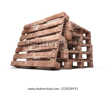Stack of wooden pallets close-up isolated on white background. 3d illustration. - stock photo