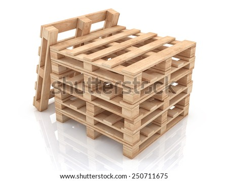 Stack of wooden pallets 3d illustration isolated on white background - stock photo