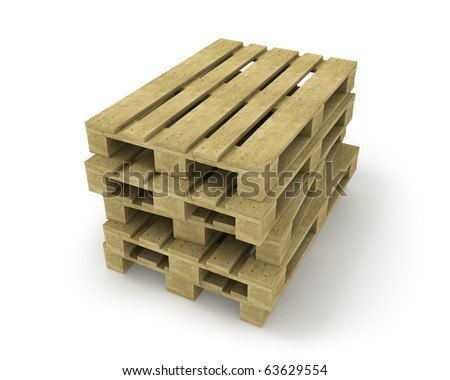 Stack of wooden pallets isolated on white - stock photo
