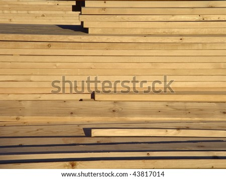 Stack of 2x4 Wooden Boards - stock photo