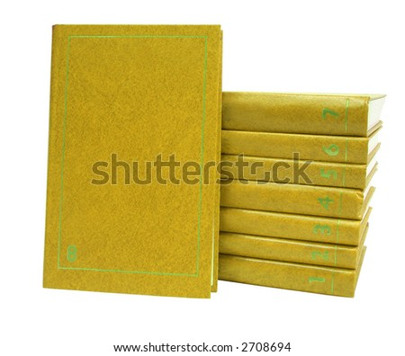 stack of yellow books with numbers over white background - stock photo