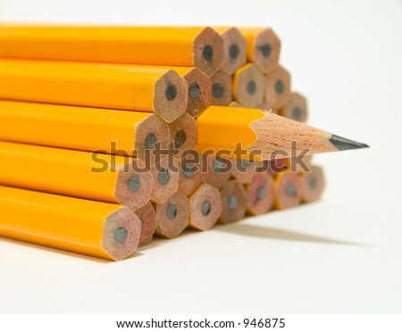 Stack of Yellow Pencils - stock photo