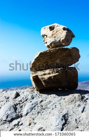stack of zen stones - stock photo