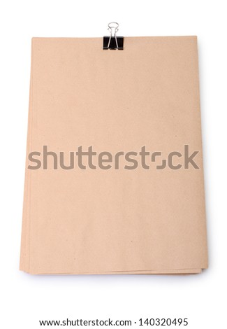 Stack old paper with clip isolated on a white background - stock photo