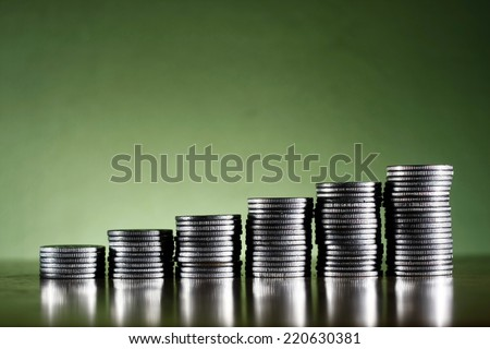 stack or piles of philippine peso coins - stock photo