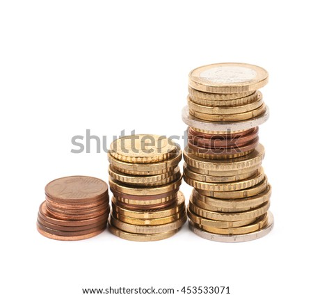 Stack pile of multiple euro coins isolated over the white background - stock photo