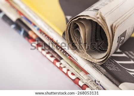 Stack. Stack of newspaper shallow depth of field - stock photo