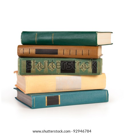 Stack tack of books isolated on the white backgroundof books isolated on the white background - stock photo